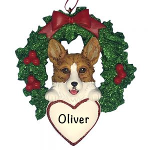 Corgi With Wreath Personalized Christmas Ornament