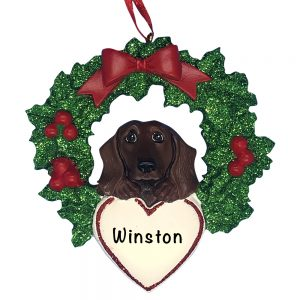 Dachshund With Wreath Personalized Christmas Ornament