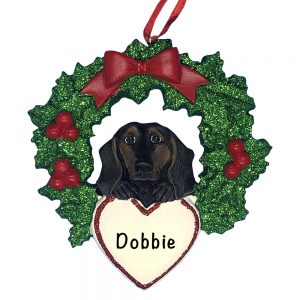 Black and Tan Dachshund With Wreath Personalized Christmas Ornament