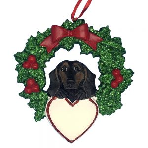 Black and Tan Dachshund With Wreath Personalized Christmas Ornament - blank