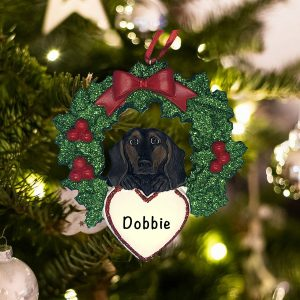 Personalized Black and Tan Dachshund with Wreath Christmas Ornament
