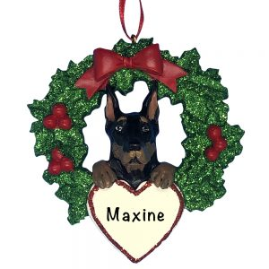Doberman Pinscher With Wreath Personalized Christmas Ornament