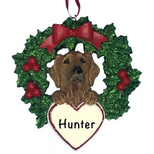 Golden Retriever With Wreath Personalized Christmas Ornament