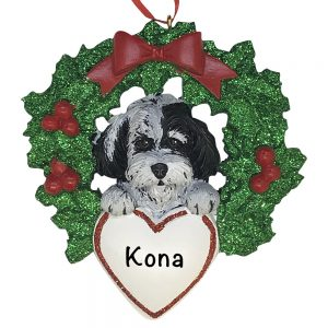 Havanese With Wreath Personalized Christmas Ornament