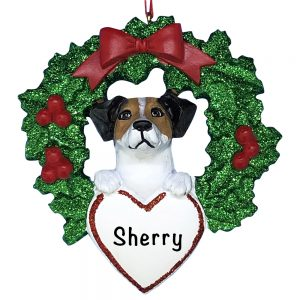 ack Russell With Wreath Personalized Christmas Ornament