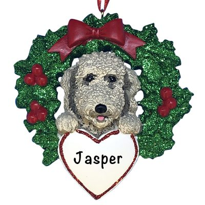 Labradoodle With Wreath Personalized Christmas Ornament