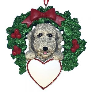Labradoodle With Wreath Personalized Christmas Ornament - Blank