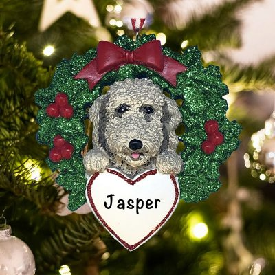 Personalized Labradoodle with Wreath Christmas Ornament