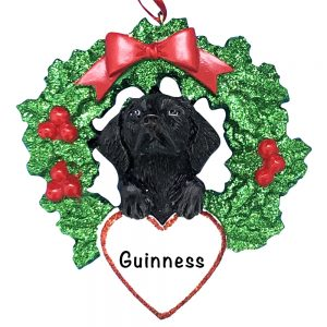 Black Lab With Wreath Personalized Christmas Ornament