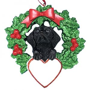 Black Lab With Wreath Personalized Christmas Ornament - blank