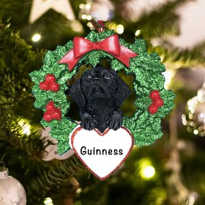 Personalized Black Lab with Wreath Christmas Ornament