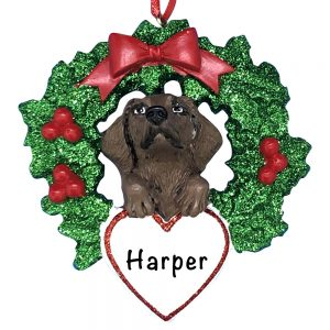 Chocolate Lab With Wreath Personalized Christmas Ornament