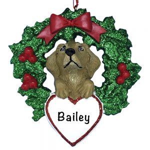 Yellow Lab With Wreath Personalized Christmas Ornament
