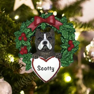 Personalized Pitbull with Wreath Christmas Ornament