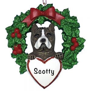 Pitbull With Wreath Personalized Christmas Ornament