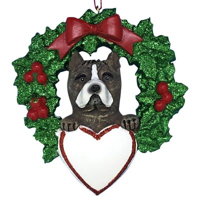 Pitbull With Wreath Personalized Christmas Ornament -blank
