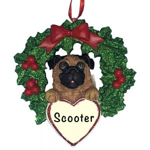 Pug With Wreath Personalized Christmas Ornament