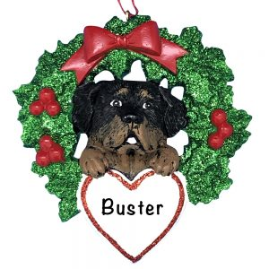 Rottweiler With Wreath Personalized Christmas Ornament