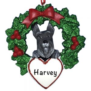 Schnauzer With Wreath Personalized Christmas Ornament
