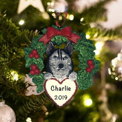 Personalized Siberian Husky with Wreath Christmas Ornament