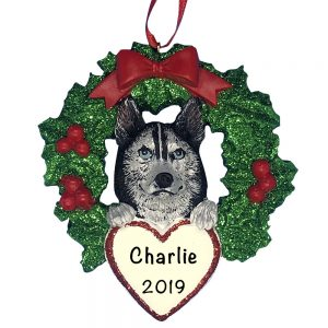 Siberian Husky With Wreath Personalized Christmas Ornament