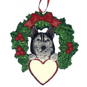 Siberian Husky With Wreath Personalized Christmas Ornament - blank