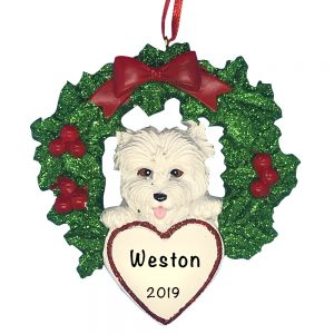 Westie With Wreath Personalized Christmas Ornament