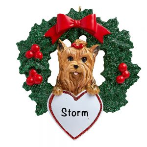 Yorkie With Wreath Personalized Christmas Ornament