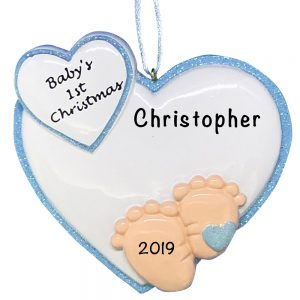 Baby Feet 1st Christmas Blue Personalized Christmas Ornament