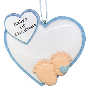 Baby Feet 1st Christmas Blue Personalized Christmas Ornament- blank