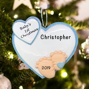 Personalized Baby Feet Blue Christmas Ornament