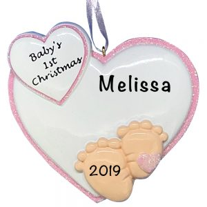 Baby Feet 1st Christmas Pink Personalized Christmas Ornament