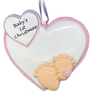 Baby Feet 1st Christmas Pink Personalized Christmas Ornament -blank