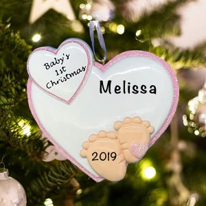 Personalized Baby Feet Pink Christmas Ornament