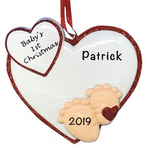Baby Feet 1st Christmas Red Personalized Christmas Ornament