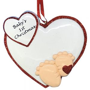 Baby Feet 1st Christmas Red Personalized Christmas Ornament - blank