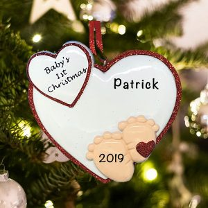 Personalized Baby Feet Red Christmas Ornament