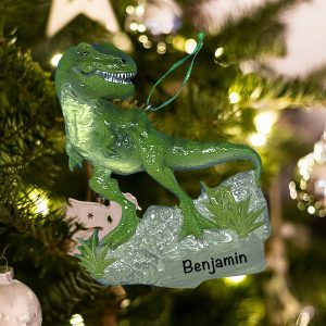 Personalized T-Rex Dinosaur Christmas Ornament