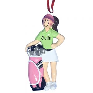 Golfer Girl Personalized Christmas Ornament
