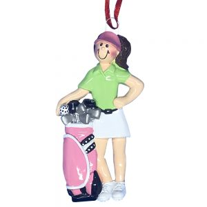 Golfer Girl Personalized Christmas Ornament - blank