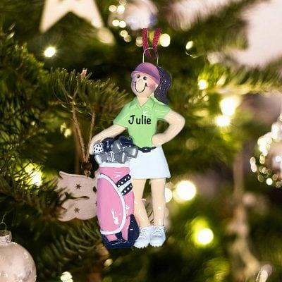 Personalized Golfer Girl Christmas Ornament