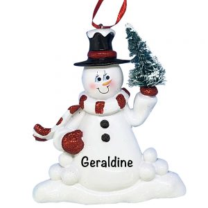 nowman With Tree Personalized Christmas Ornament