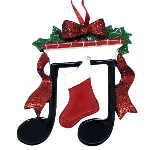 Music Note Mantle Personalized Christmas Ornament - blank
