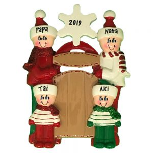 Sleigh Family of 4 Personalized Christmas Ornament