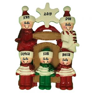 923-5 Sledding Family of 5 Personalized Christmas Ornament
