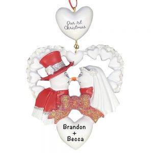 Snow Wedding Red Personalized Christmas Ornament