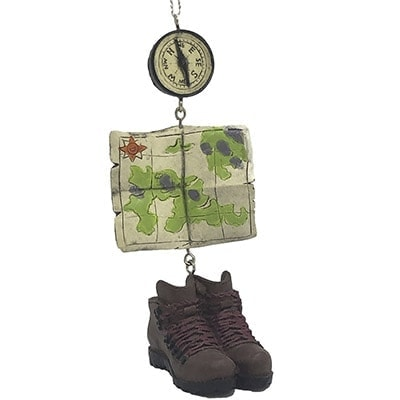 Hiking Boots Compass and Map Personalized Ornament