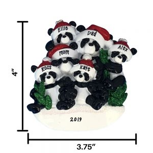 Panda Family of 6 Personalized Christmas Ornament