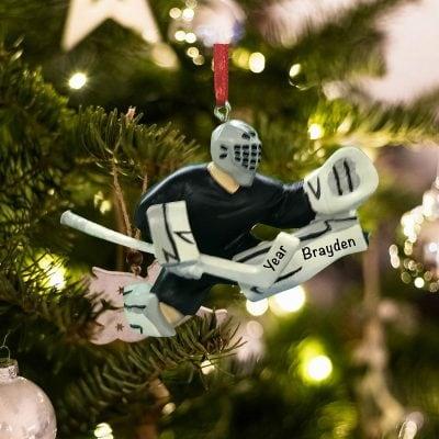 Personalized Hockey Goalie Save Christmas Ornament