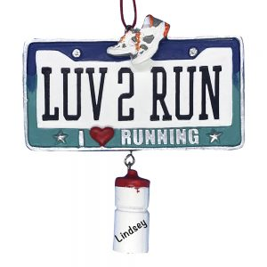 Love To Run Personalized Christmas Ornament